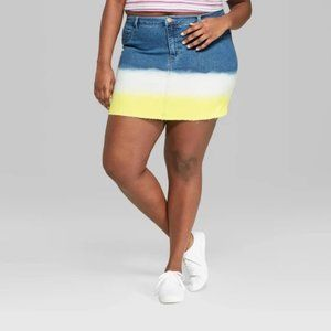 Wild Fable Jean Skirt Yellow Dip Dye New With Tags